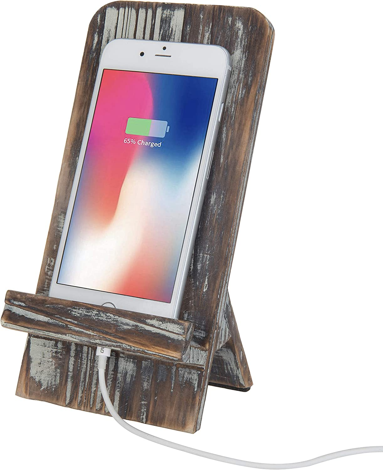MyGift Rustic Barnwood Universal Smartphone Dock Charging Stand, Desktop Cell Phone Cradle, Brown