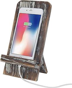 MyGift Rustic Barnwood Universal Smartphone Dock Charging Stand, Desktop Cell Phone Cradle, Brown