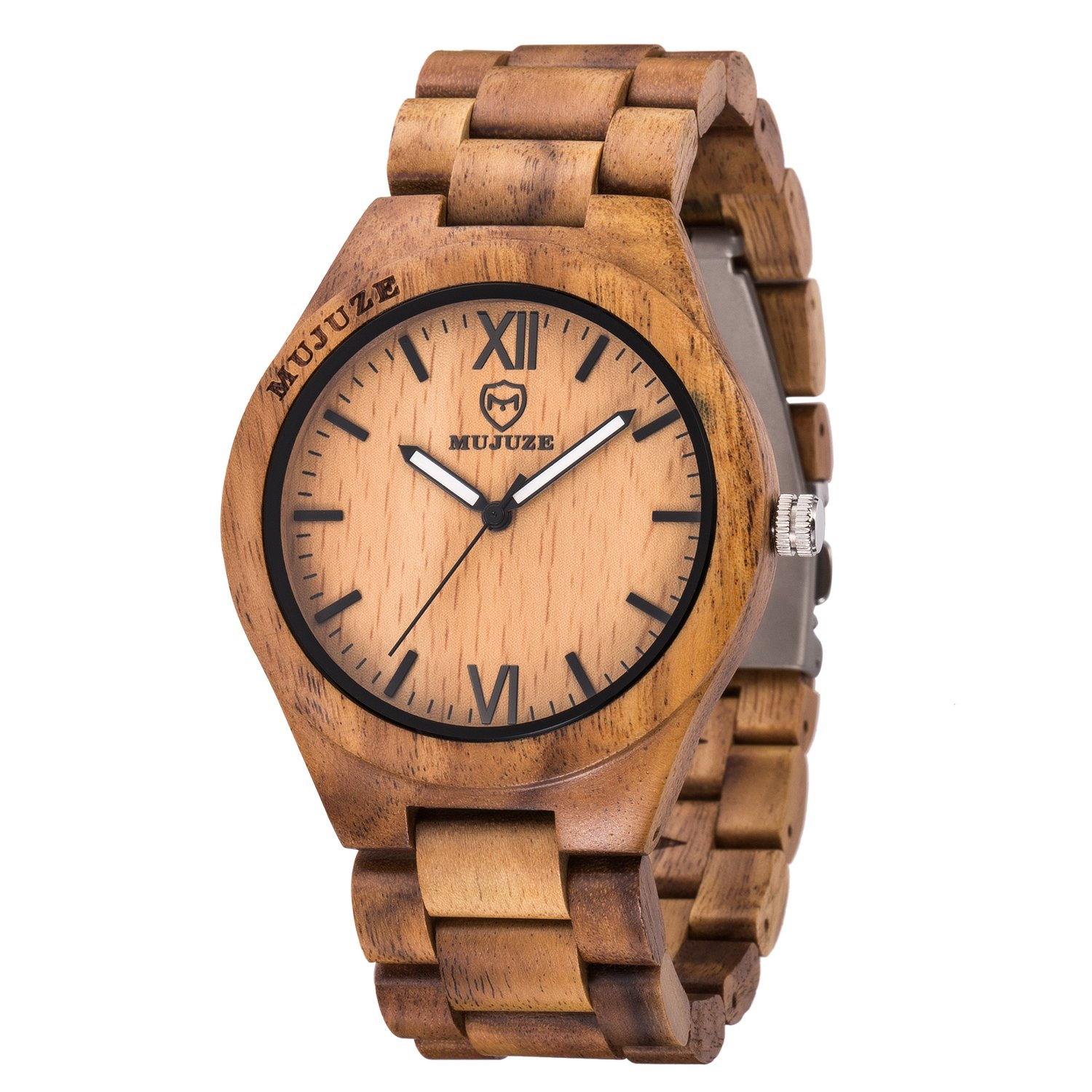 Watch for Men, ShiLiTech Mens Wooden Watch Analog Quartz Lightweight Handmade Wood Wrist Watch Men(Acacia Wood)