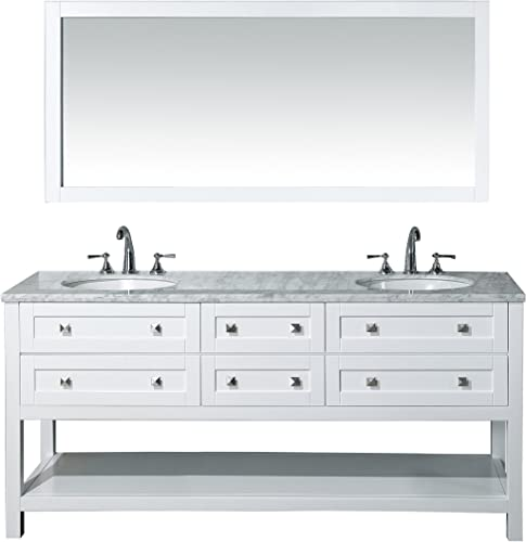 Stufurhome Marla 72 inch Double Sink Bathroom Vanity with Mirror in White