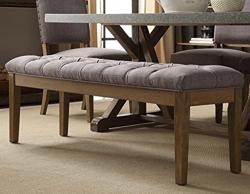 Mid Century Button Tufted Gray Bench with Light Brown Wood Legs