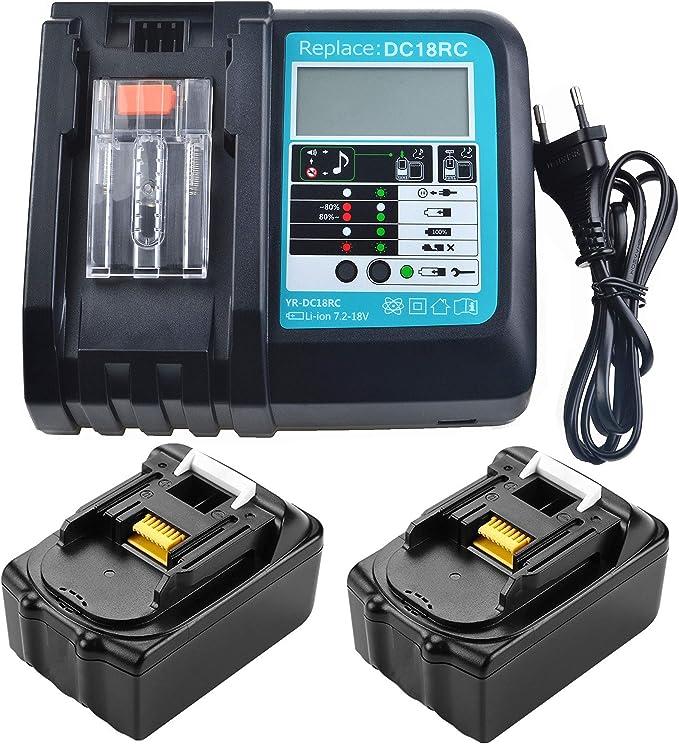 Cargador 3A con 2 baterías de 18 V 5,0 Ah reemplazar para radio Makita DMR100 DMR108 DMR107 DMR106 DMR106B DMR102 DMR104 DMR110 DMR101 DMR103B BMR102 BMR100 BMR104 18V