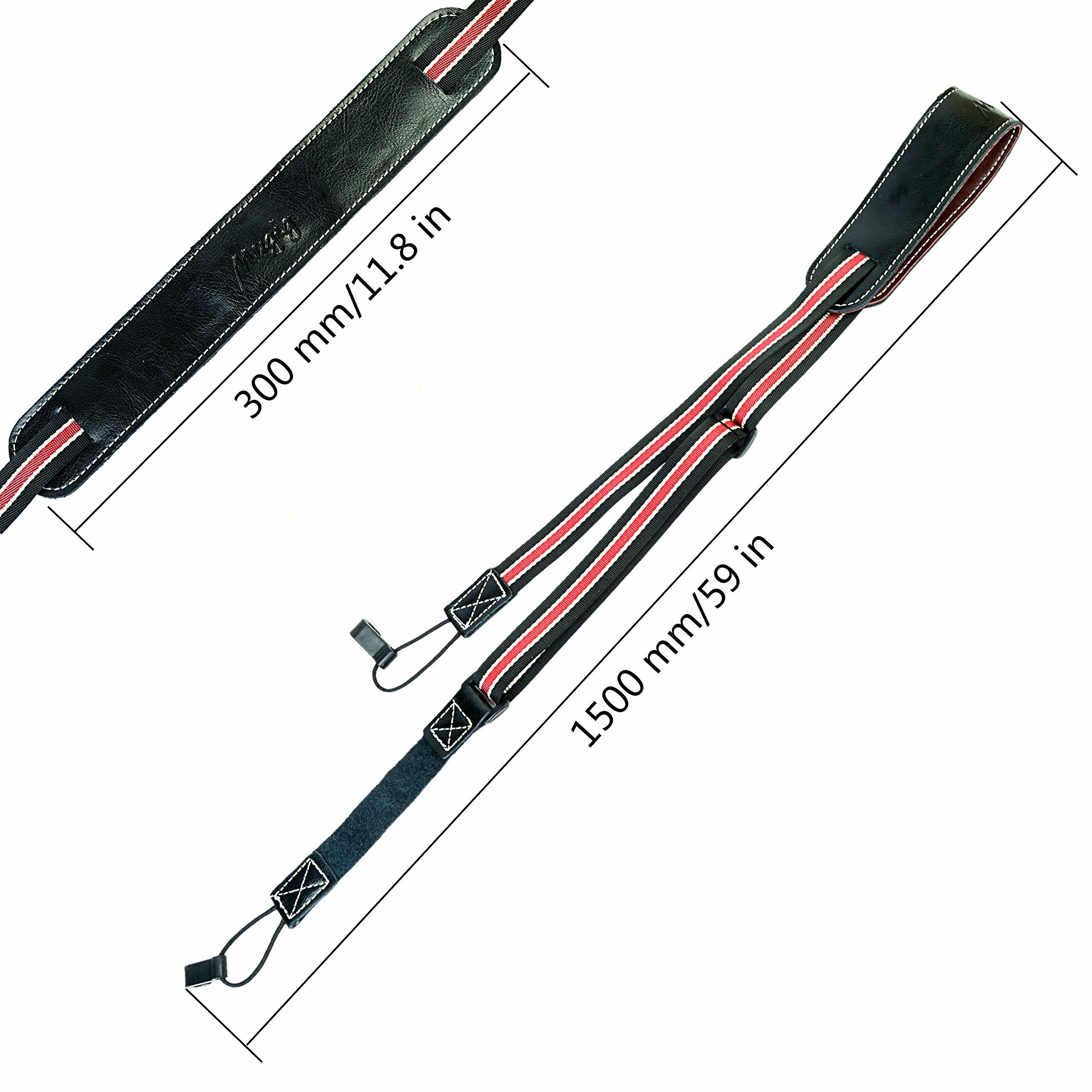 Ukulele Strap, Leather Pad Adjustable Nylon Neck Sling Strap for Ukulele with Sound Hole Hook (Brown) (black)