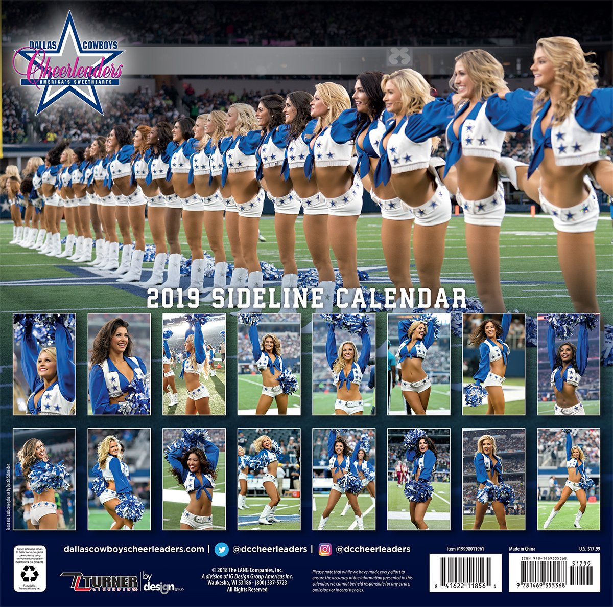 56dd0ea5dc91 espátula Licensing Dallas Cowboys Cheerleader 2019 12 x 12 16 meses  calendario (19998011961)