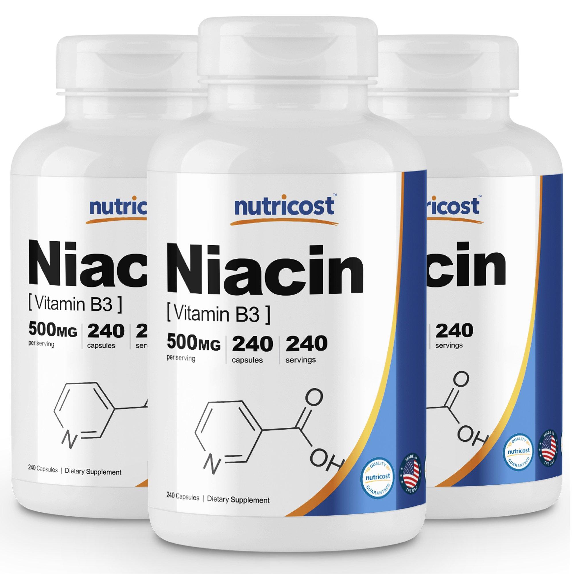 Nutricost Niacin (Vitamin B3) 500mg, 240 Capsules (3 Bottles)
