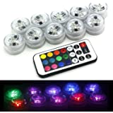 HOAEY RGB Tea Light Waterproof LED Tea Lights with Remote Controller Submersible Candle Lights for Wedding Party Christmas Decorations 10pcs