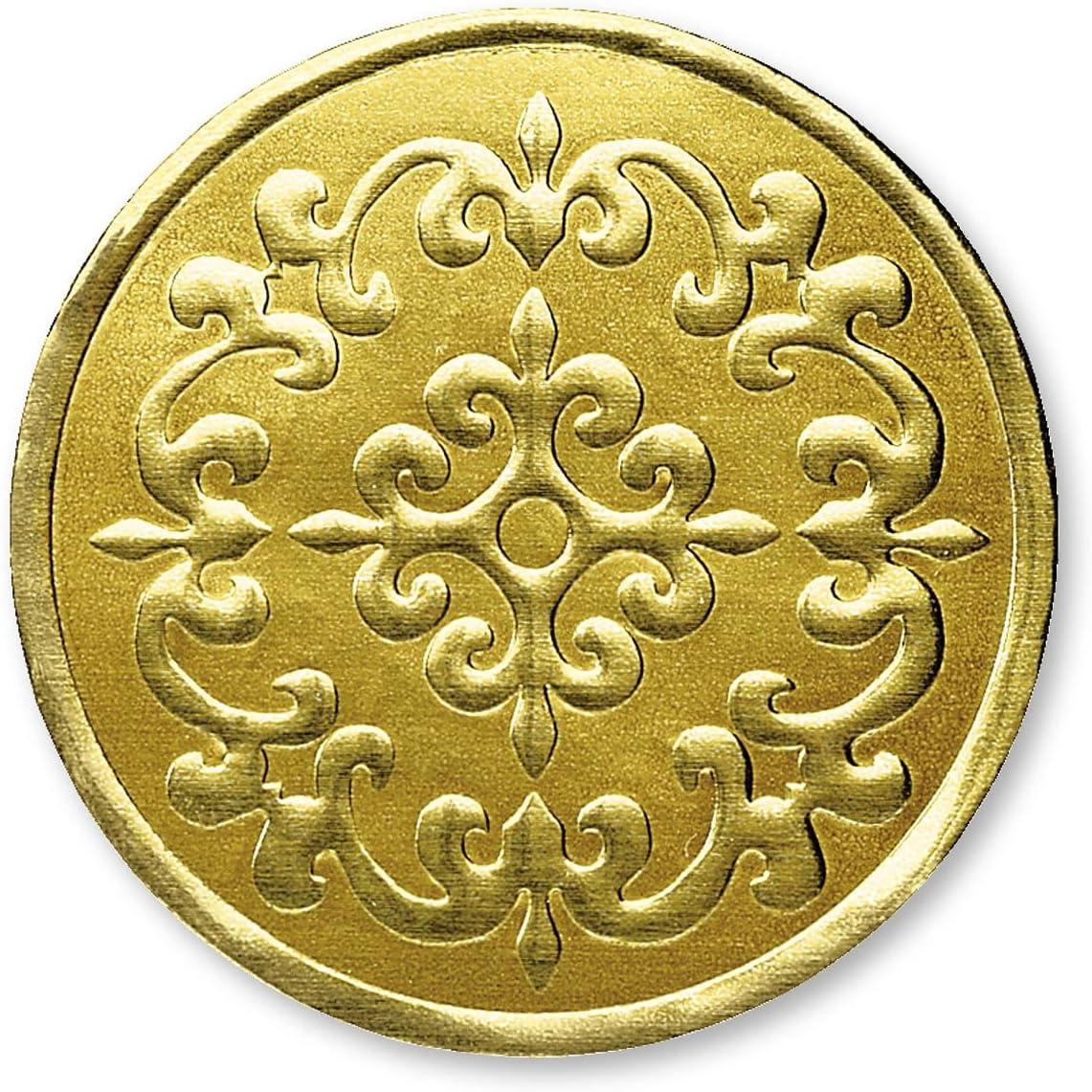 PaperDirect Castillo Filigree Embossed Foil Certificate Seals, 32 Count (Gold)