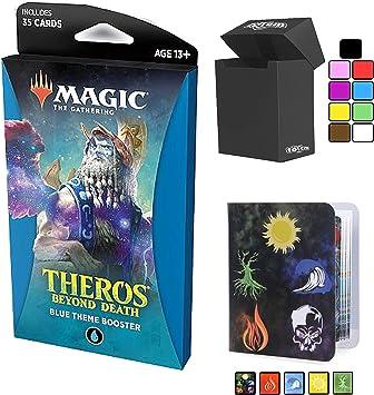 Totem World Theros Beyond Death Blue Theme Booster Pack Magic The Gathering with a Mini Carpeta de coleccionistas, álbum y Caja de mazo – MTG THB Bundle Set: Amazon.es: Juguetes y juegos