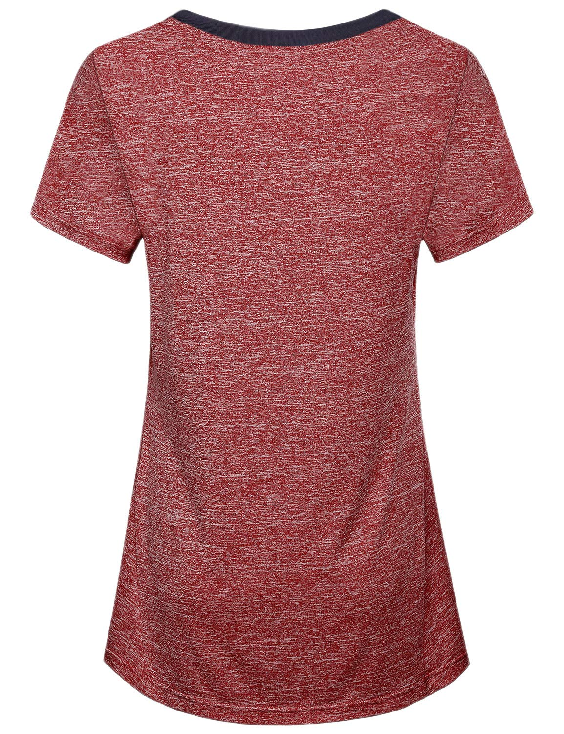 Miusey Yoga Tops for Women, Ladies Short Sleeve Sport Exercise Elastic Petite Activewear Fast Dry Running Solid Color Light Weight Cool Relaxing Wearing Wine M by Miusey (Image #2)