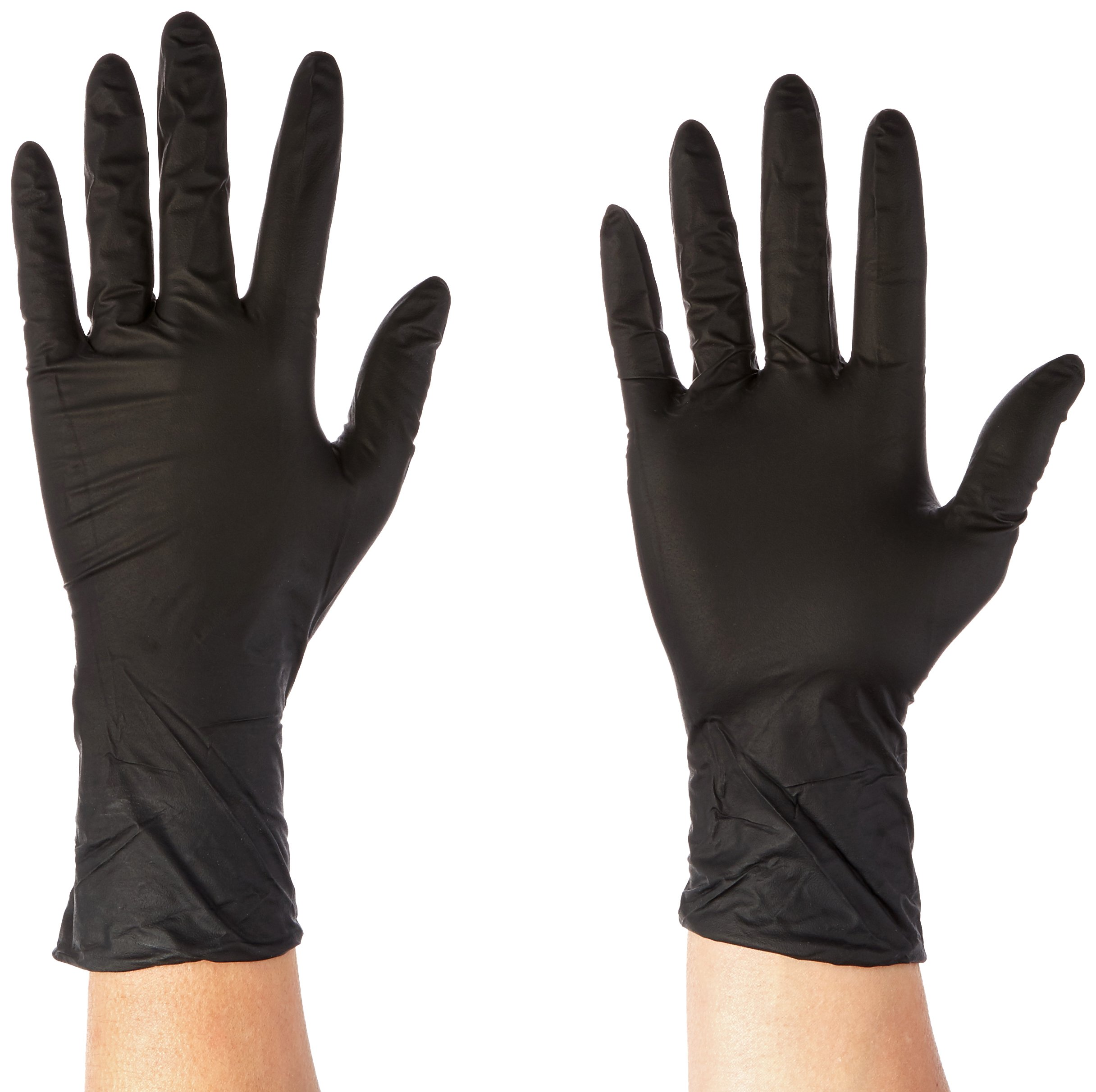 Microflex MK-296-XS MidKnight Powder-Free Examination Glove, 9.6'' Length, 3.1'' Cuff Thickness, 4.7'' Palm Thickness, 5.5'' Finger Thickness, X-Small, Black (Pack of 100)