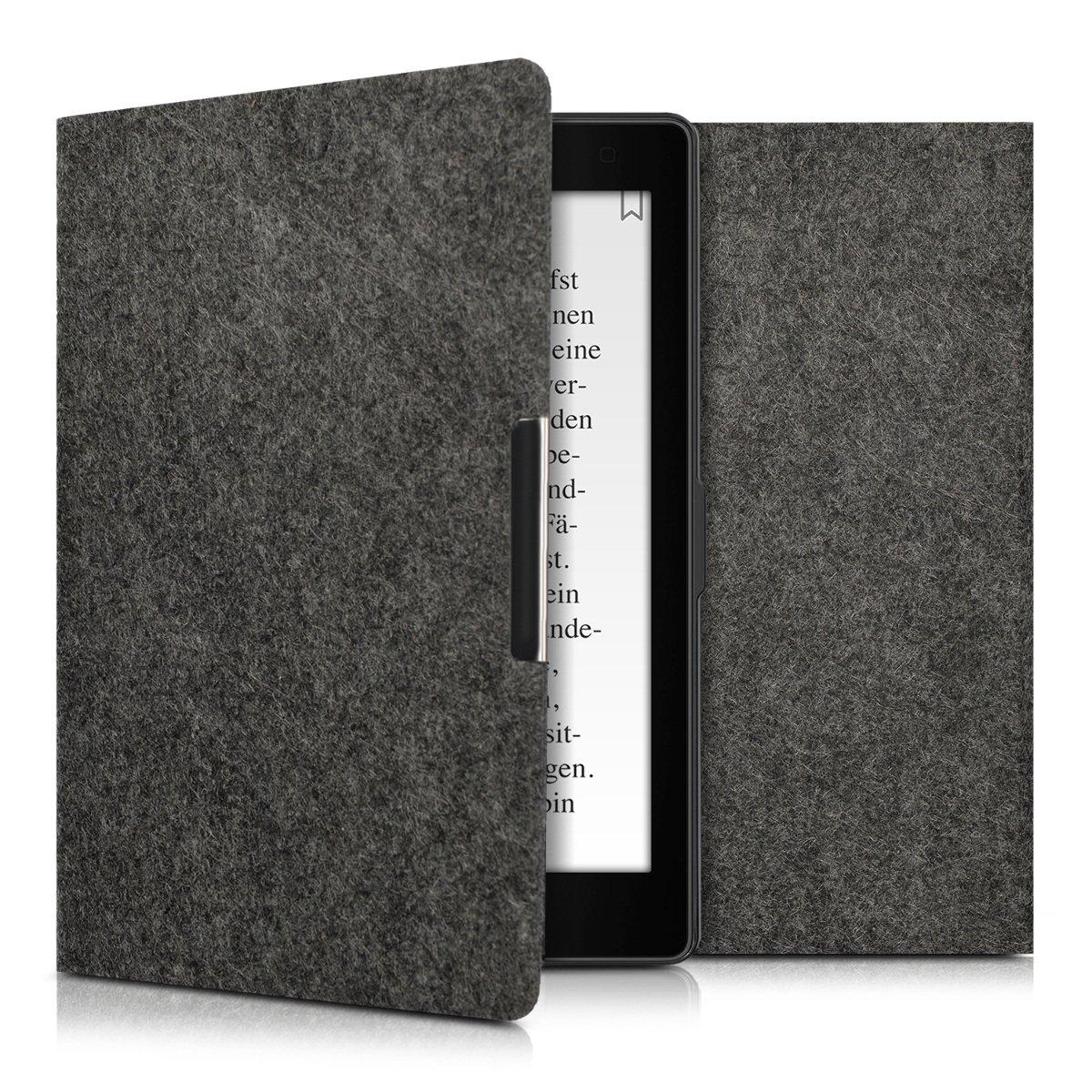 kwmobile Case for Kobo Aura ONE - Book Style Felt Fabric Protective e-Reader Cover Folio Case - dark grey