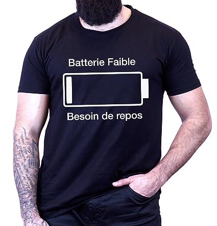 L'abricot blanc - T-shirt humour geek Batterie faible besoin de repos -