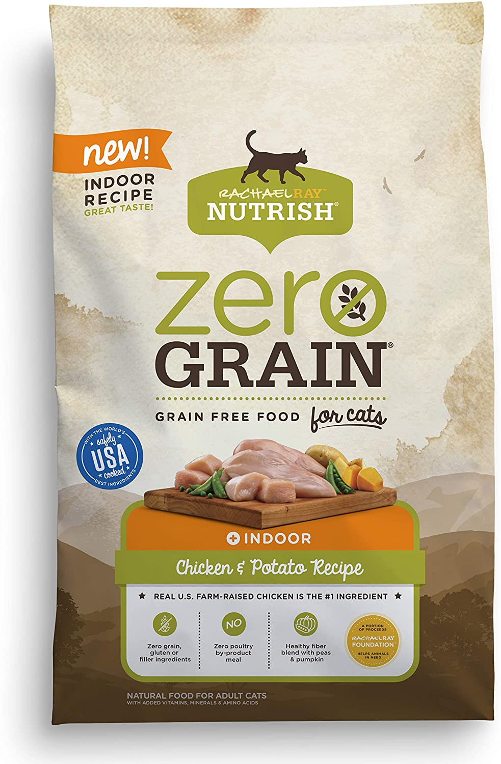 Rachael Ray Nutrish Zero Grain Dry Cat Food for Indoor Cats, Grain Free