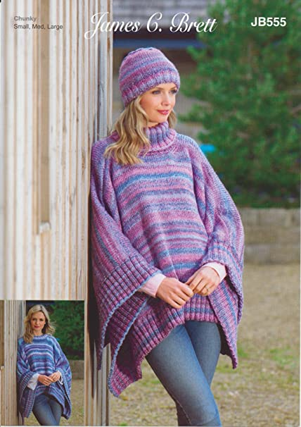 James C Brett JB555 Knitting Pattern Womens Poncho/Tabbard and Hat in  Marble Chunky