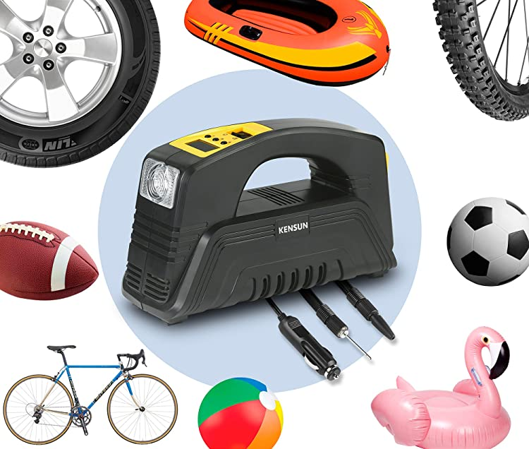 Kensun AC/DC Rapid Performance Portable Air Compressor Tire Inflator with Digital Display for Home (110V) and Car (12V)