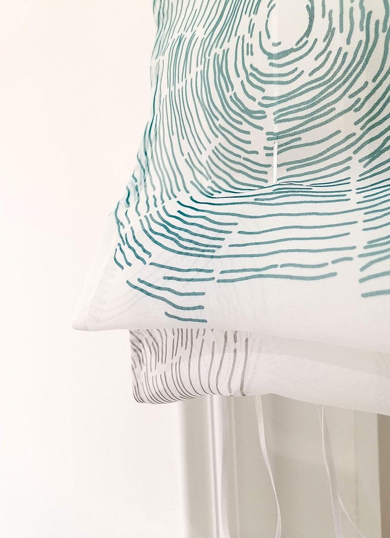 1 Pi/èce Store Romain Transparent avec Impression D/écoration de Fen/être LxH 60x150cm, Bleu - Patttes