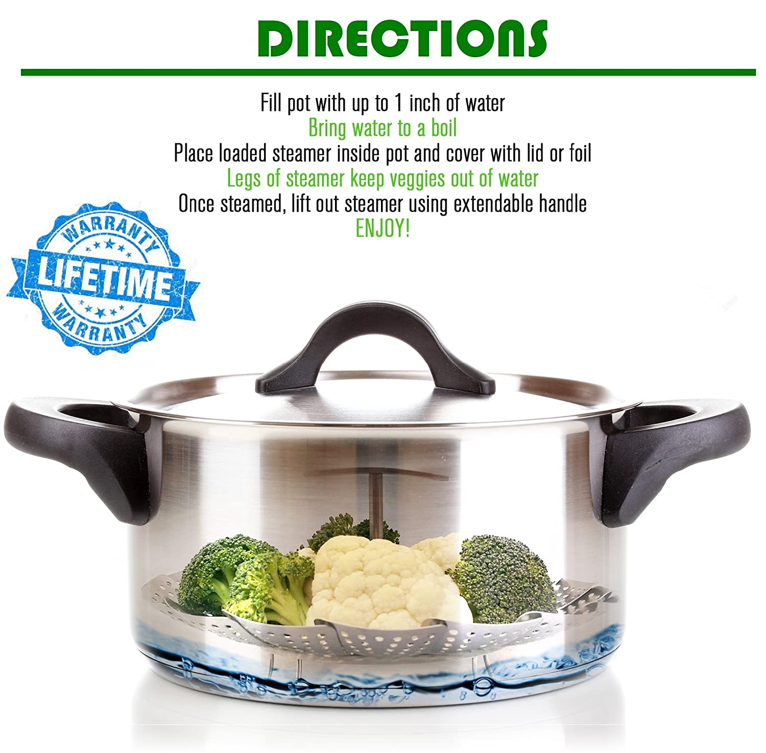 Insert For Instapot Pressure Cooker 3 Fits Instant Pot Accessories Include Safety Tool 5 100/% Stainless Steel Kitchen Deluxe Vegetable Steamer Basket Peeler eBook 6 Quart /& 8 Qt Steamer Basket Instant Pot Accessories