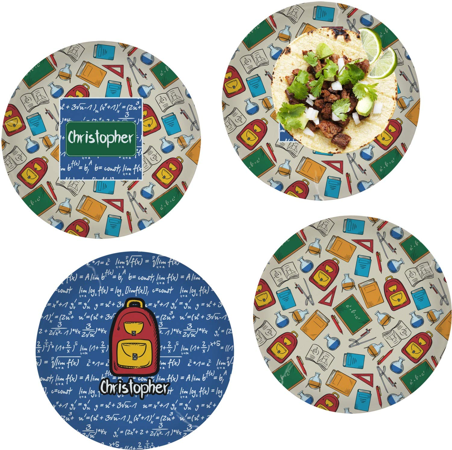 Math Lesson Set of 4 Glass Lunch/Dinner Plate 10'' (Personalized)