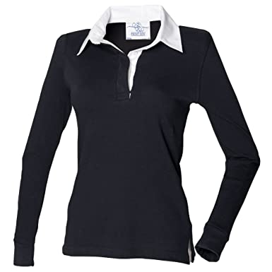 0f88bd30de Front Row Womens/Ladies Long Sleeve Plain Sports Rugby Polo Shirt (XS) (