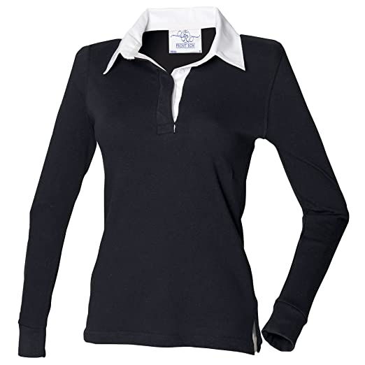 f1a9ecd3 Front Row Womens/Ladies Long Sleeve Plain Sports Rugby Polo Shirt