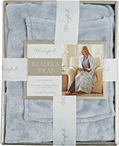 Morgan Home Fashions Luxury Wearable Soft Plush Throw Blanket- Comfortable, Soft, Durable Wearable Throw Blanket for Reading, Watching TV, Gaming, Relaxing etc (Pearl Blue)