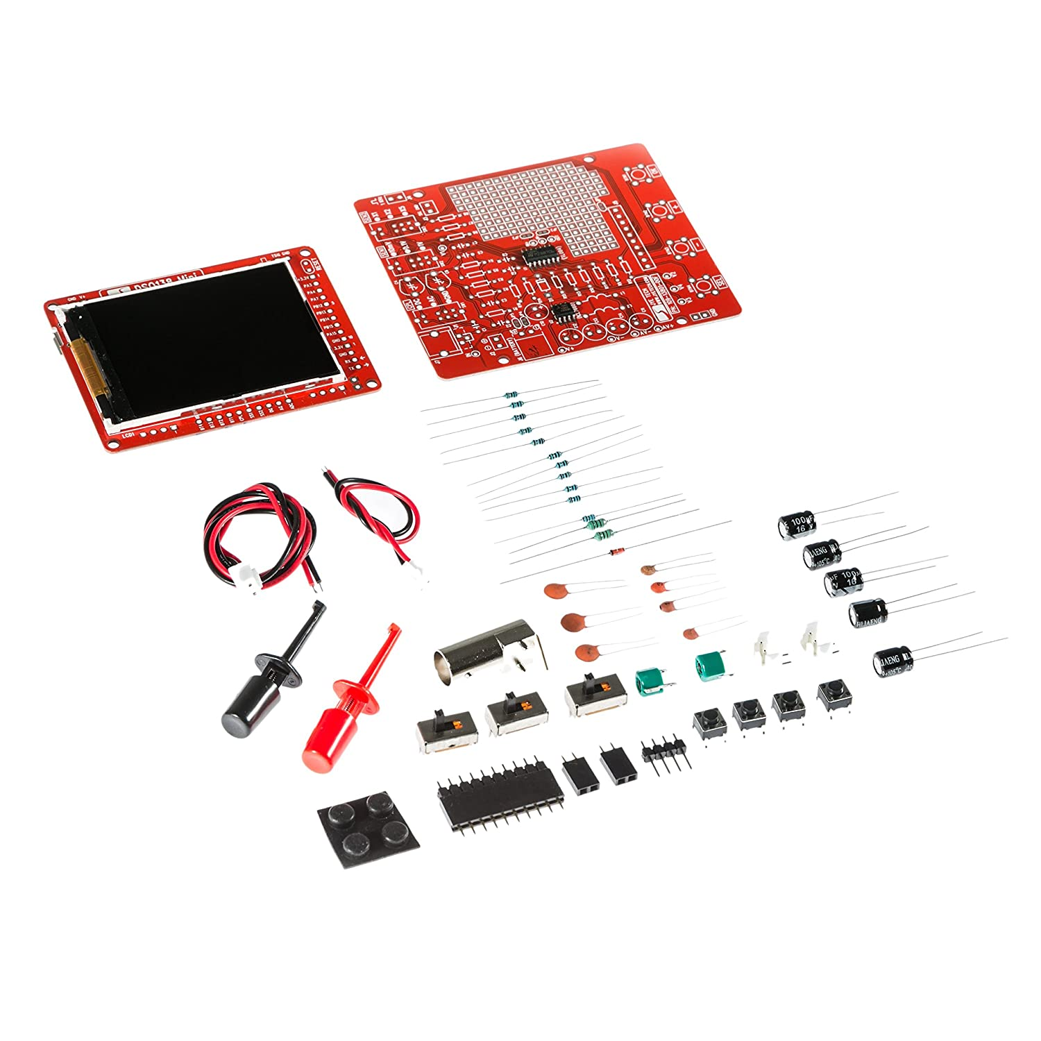 JYETech 'DSO 138 Mini' Oscilloscope DIY Kit w/Clip Probe by NooElec. Low Cost Portable Digital Storage Oscilloscope with 2.4' TFT LCD. Model DSO138 Mini; SKU 13805K NooElec Inc. DSO138mini
