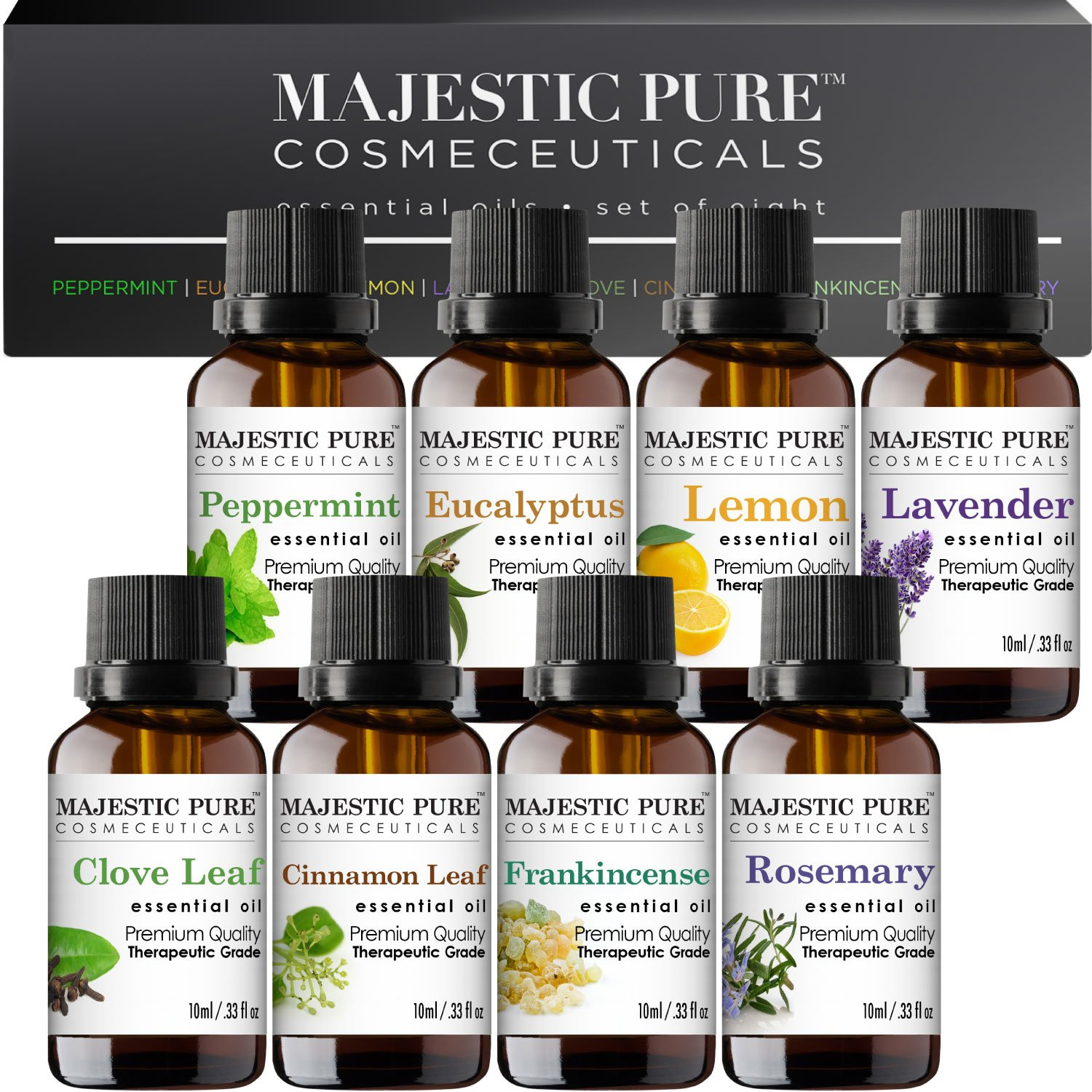 MajesticPure Aromatherapy Essential Oils Set, Includes Lavender, Frankincense, Peppermint, Eucalyptus, Lemon, Clove Leaf, Cinnamon Leaf & Rosemary Oils- Pack of 8-10 ml each by Majestic Pure (Image #2)