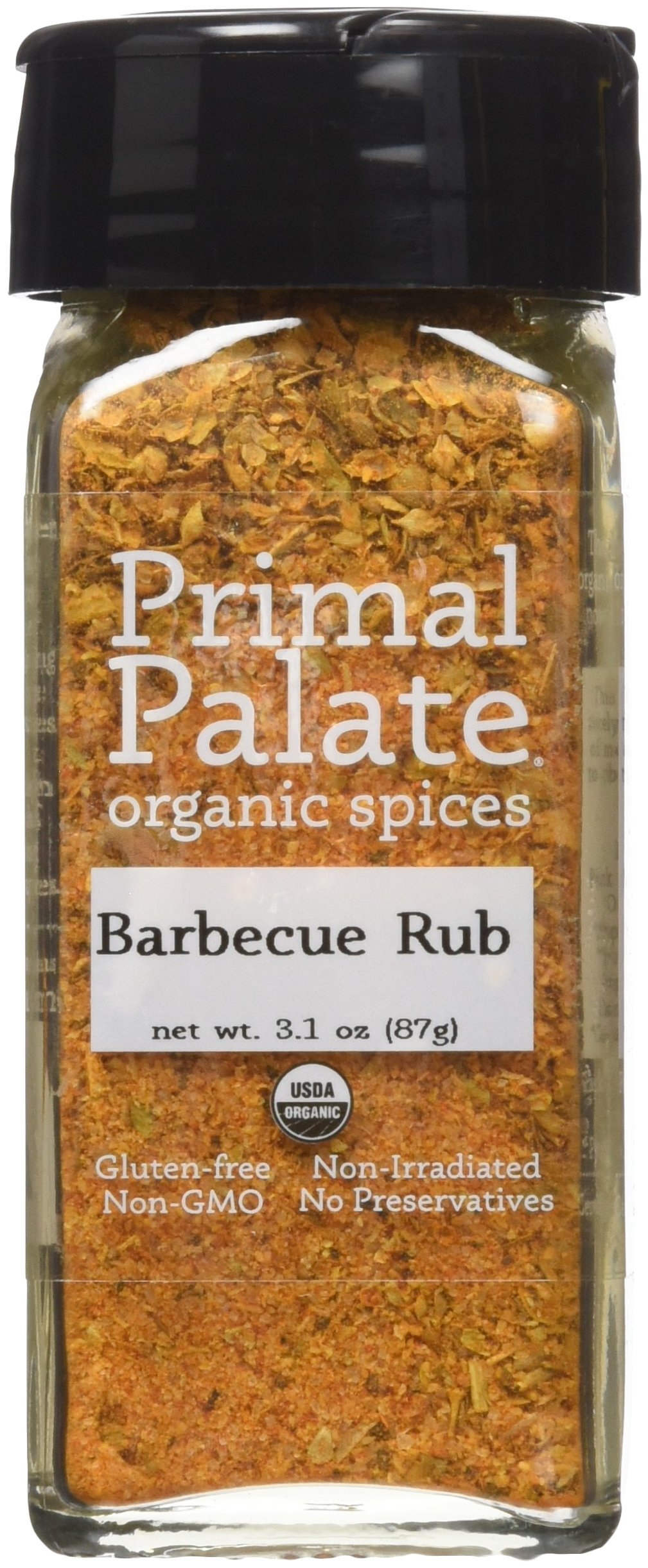 Primal Palate Organic Spices Barbecue Rub, Certified Organic, 3.1 oz Bottle