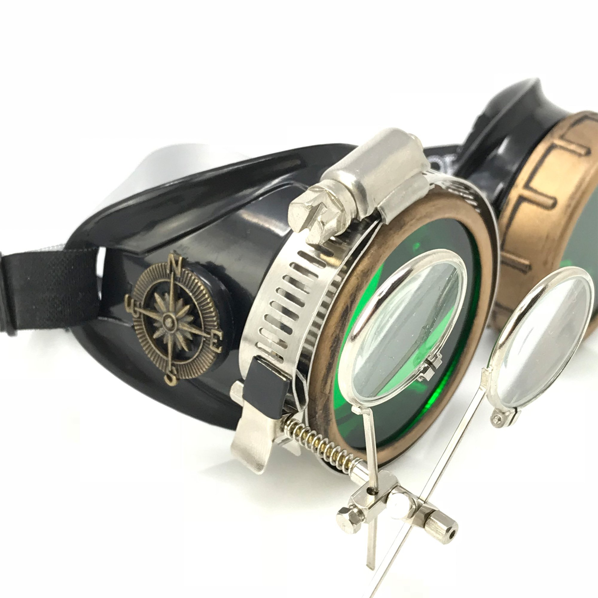 Steampunk Victorian Style Goggles with Compass Design, Emerald Green Lenses & Ocular Loupe by UMBRELLALABORATORY (Image #6)
