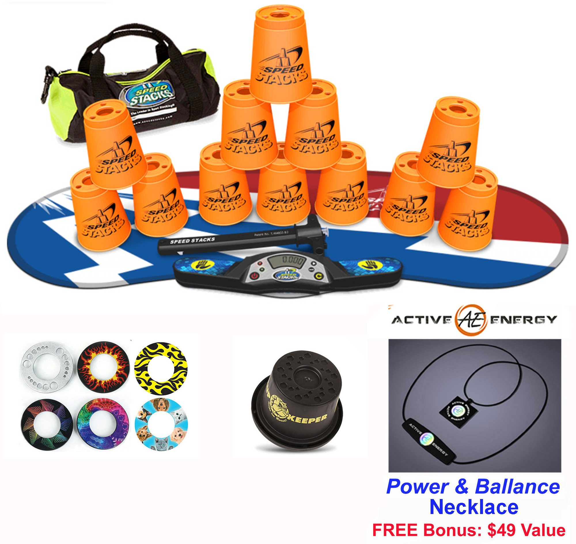 Speed Stacks Combo Set 'The Works'': 12 ORANGE 4'' Cups, Atomic Punch Gen 3 Mat, G4 Pro Timer, Cup Keeper, Stem, Gear Bag + Active Energy Necklace