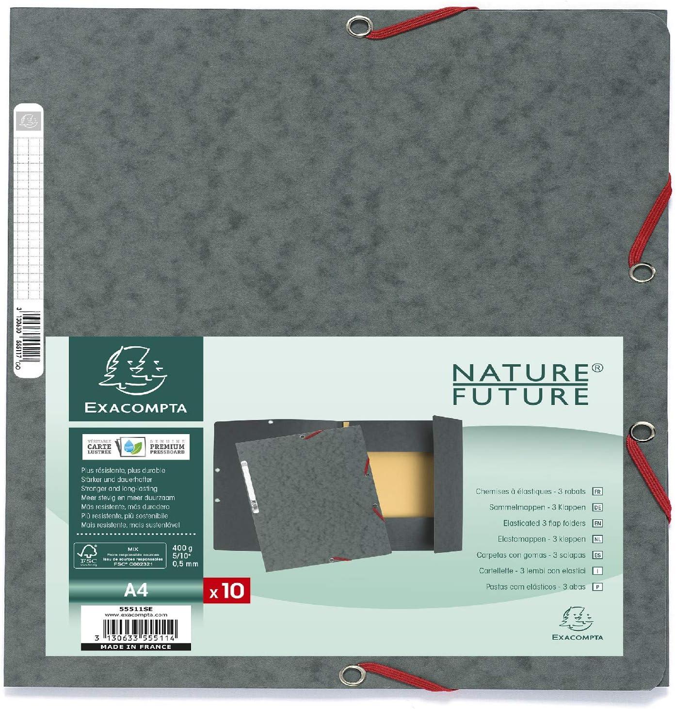 Exacompta 55511SE - Pack de 10 carpetas con gomas y 3 solapas, A4 ...