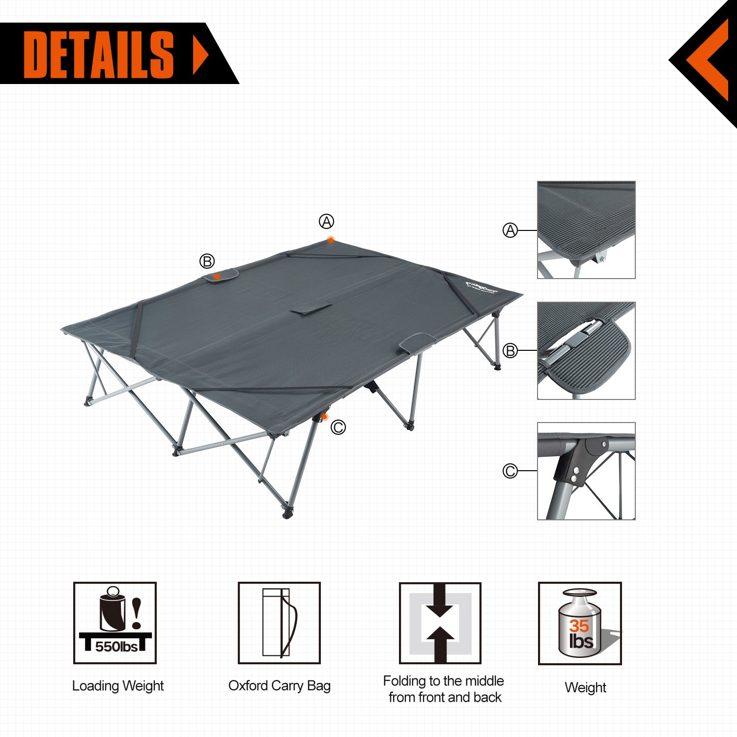 KingCamp Camping Cot Double 2 Person Oversized Anodized Steel Frame Portable Folding Bed Portable with Wheeled Carry Bag by KingCamp (Image #3)