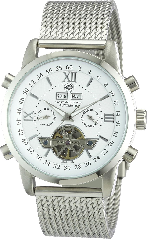 Constantin Durmont Calendar - Reloj analógico de caballero automático con correa de acero inoxidable plateada - sumergible a 30 metros