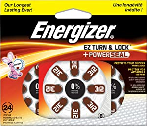 Energizer AZ312DP-24 EZ Turn & Lock Size 312 Hearing Aid Batteries, 24-Count