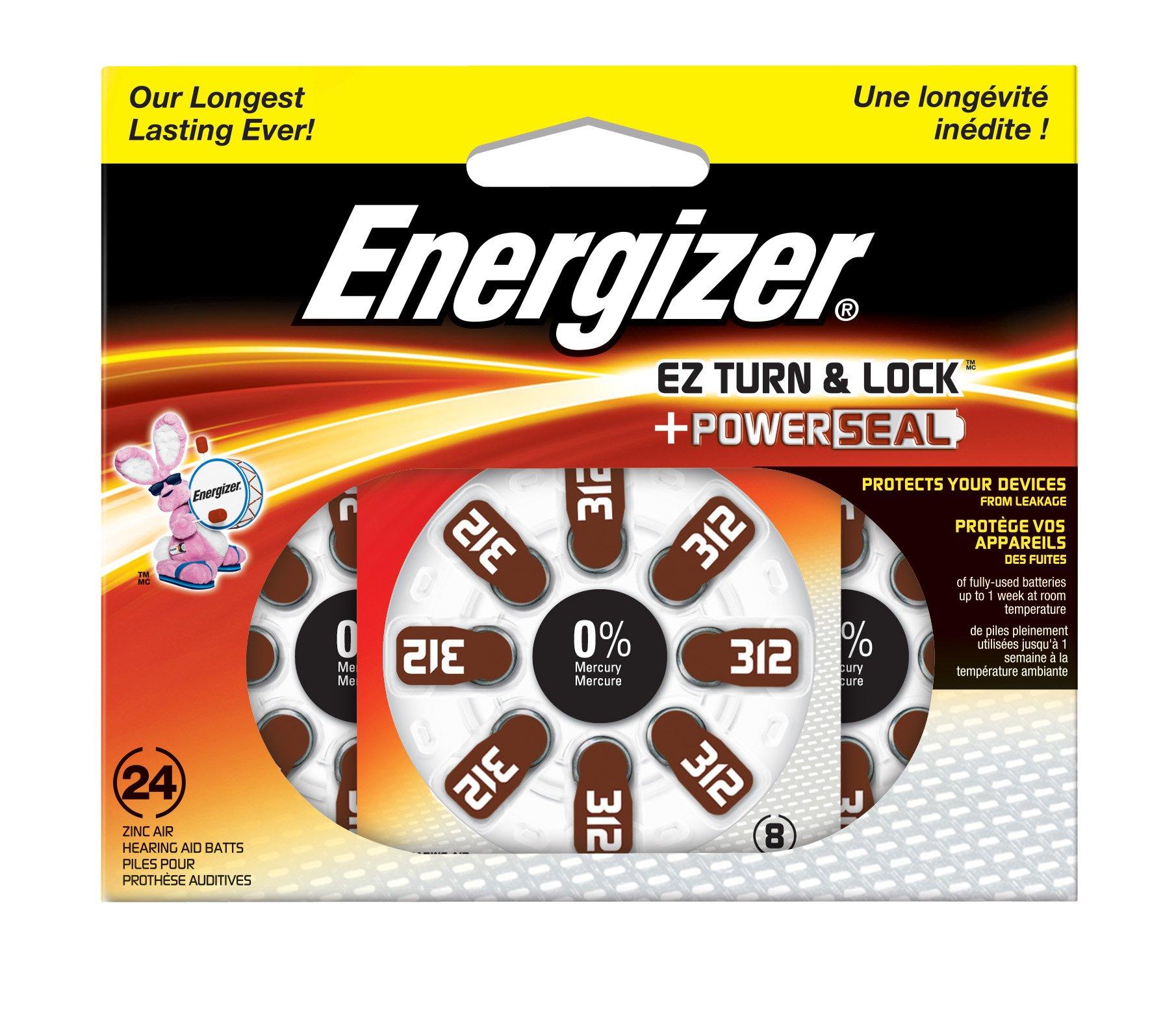 Energizer AZ312DP-24 EZ Turn & Lock Size 312 Hearing Aid Batteries, 24-Count