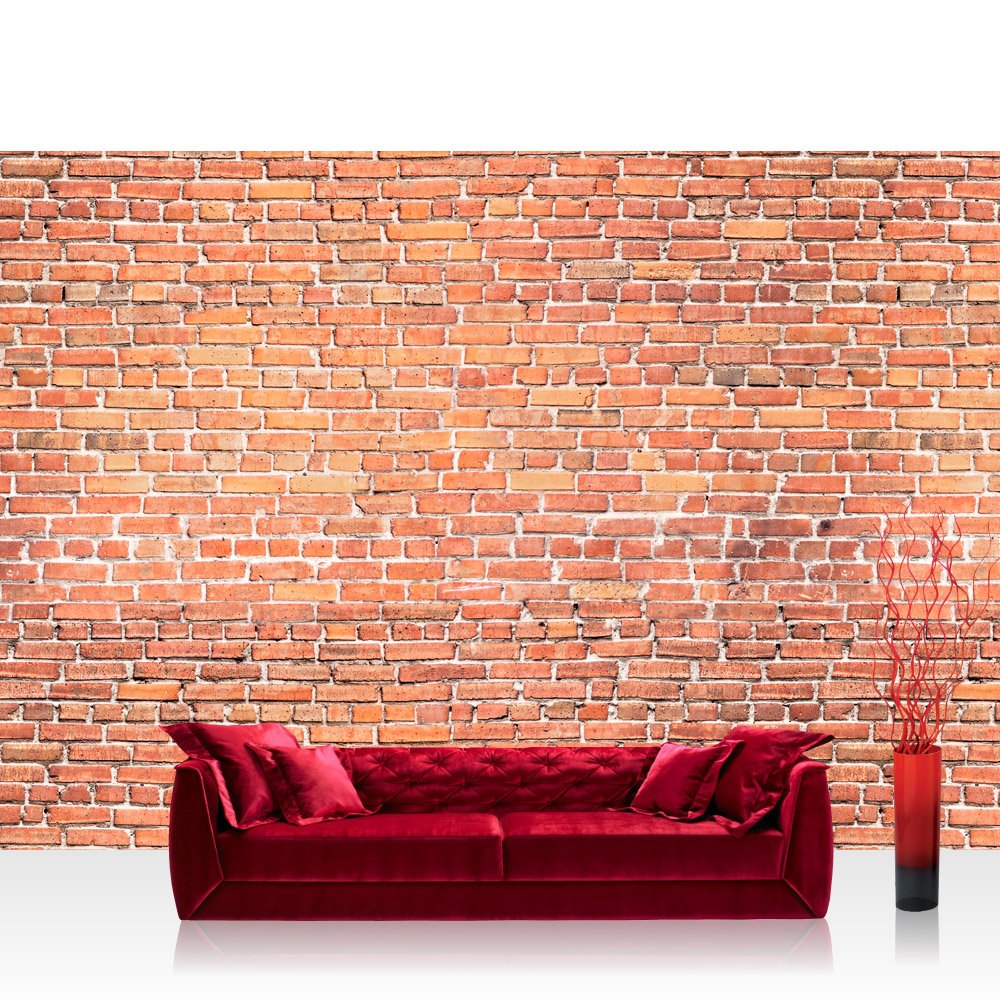 Vlies Fototapete 350x245 cm PREMIUM PREMIUM PREMIUM PLUS Wand Foto Tapete Wand Bild Vliestapete - ROT BRICK STONE WALL - Wandbild Steinwand Steintapete Ziegelwand Ziegel rot Mauer Ziegelmauer - no. 136 78a1f5