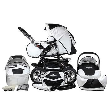 Bergsteiger Milano Kombikinderwagen Autositz Mit Travelsystem Megaset 10 Teilig Farbe Black White Amazon De Baby