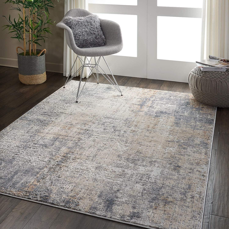 Amazon Com Nourison Rustic Textures Area Rug X 5 3 X 7 3 Grey Beige Furniture Decor