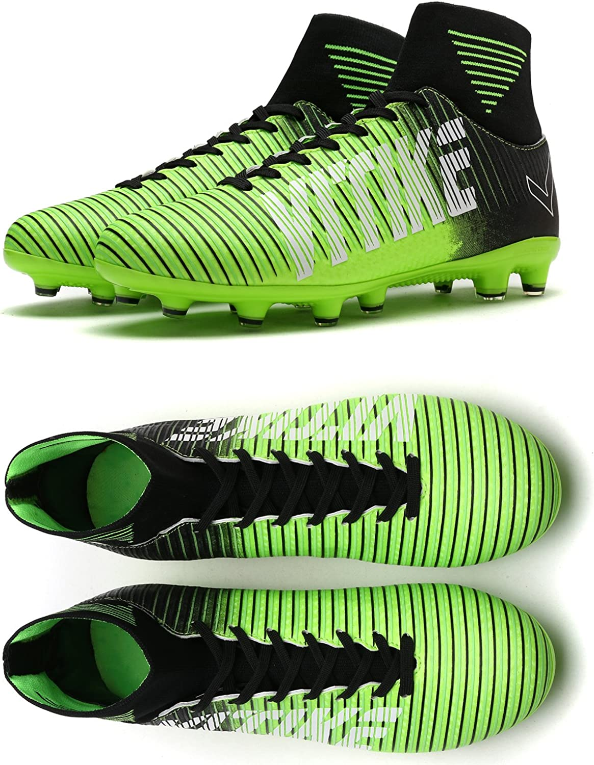 WETIKE Kids Soccer Cleats Boys Youth Cleats Football Boots High-top Cleats for Soccer