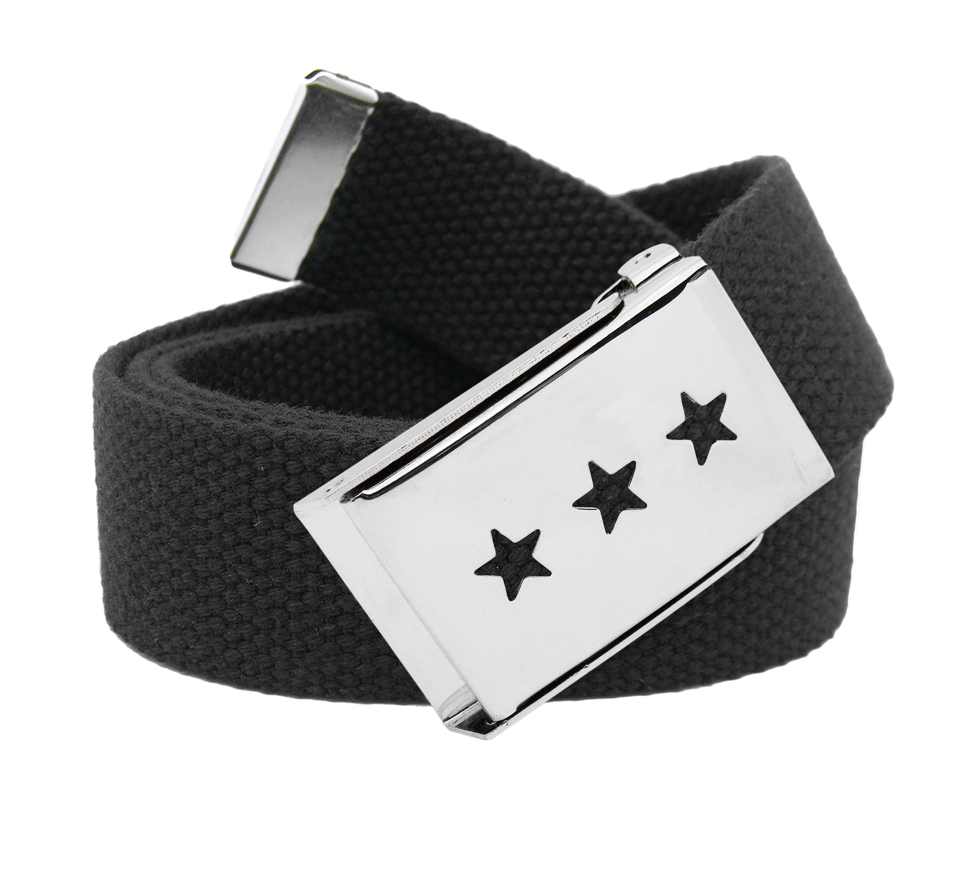 Women's Triple Star Cut Out Silver Flip Top Belt Buckle with Canvas Web Belt X-Large Black