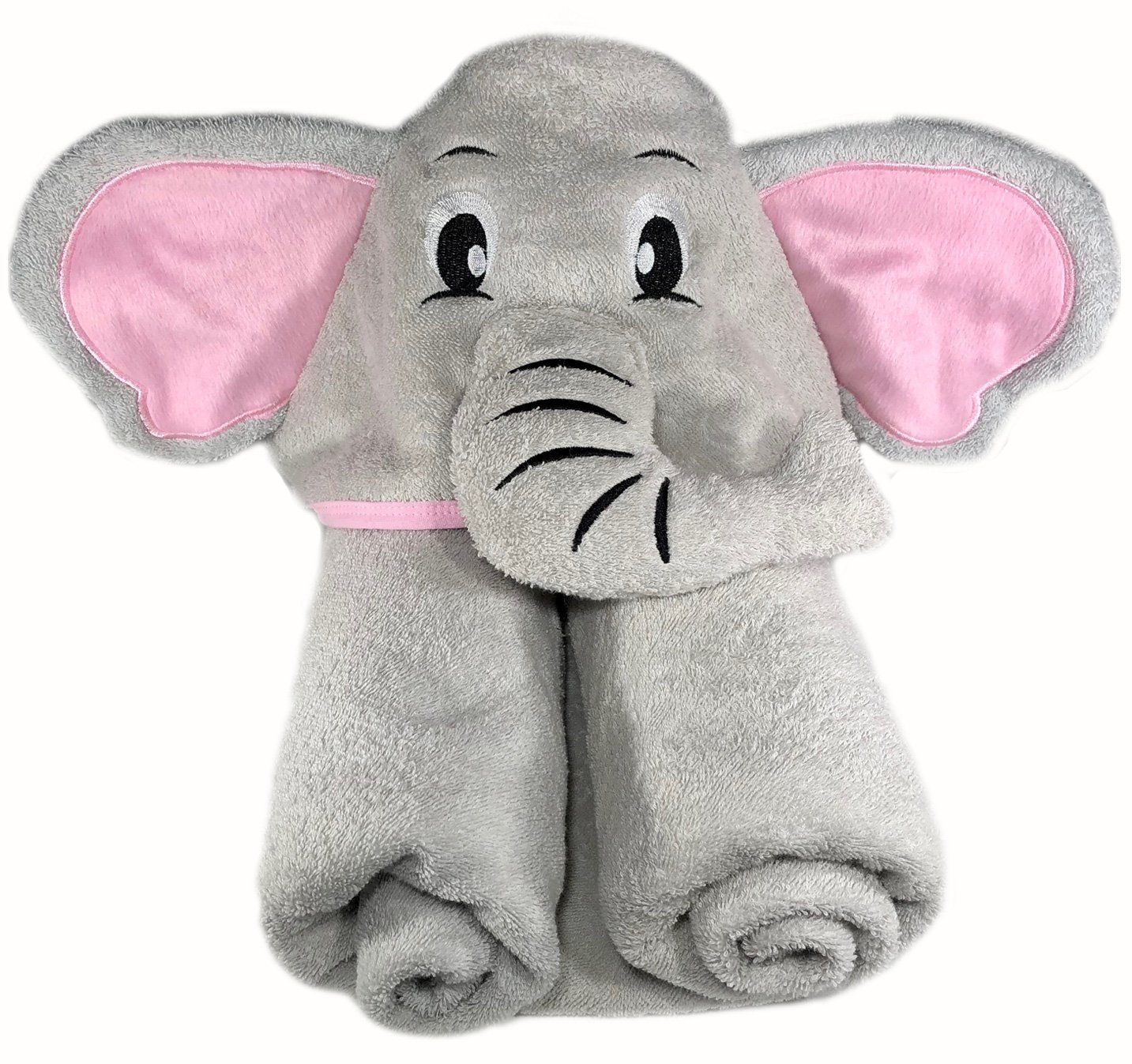 Elephant Hooded Bath Towel   Premium Cotton   For Baby, Infant, Toddler, Kids, Boy, or Girl   Extra Large Pink and Grey   Baby Shower GrowWILD Elephant-Pink