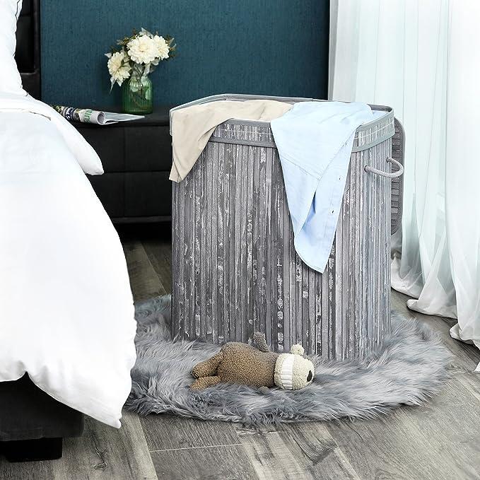 SONGMICS Cesta para Ropa Sucia Plegable con Dos Compartimentos Cubos para Ropa Sucia de bambú con Tapa Asas Bolsa de algodón Capacidad de 100 L Forma ...