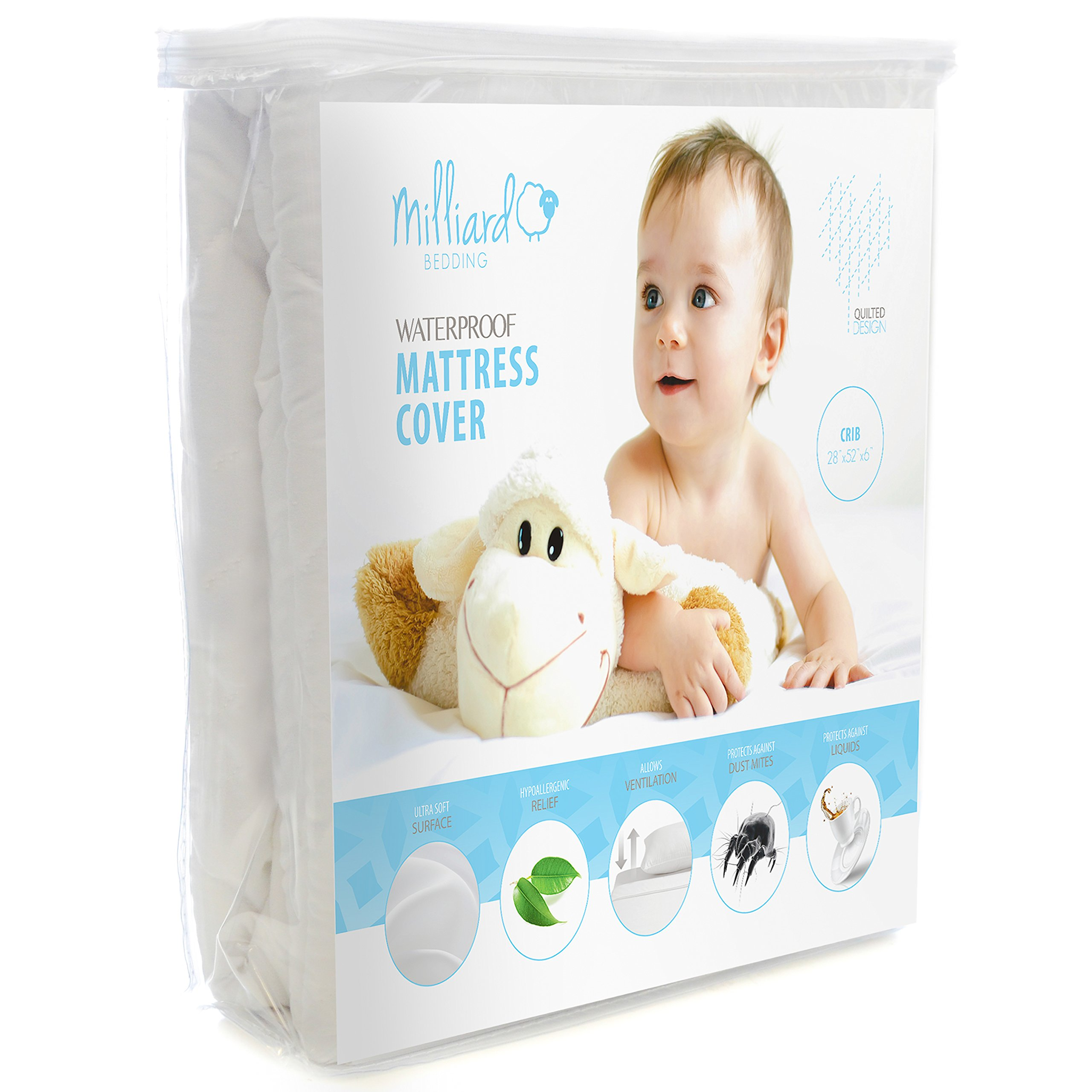 Milliard Quilted, Waterproof Crib and Toddler Mattress Protector Pad, Premium Hypoallergenic Fitted Cover with Extra Padding 28x52x6 by Milliard