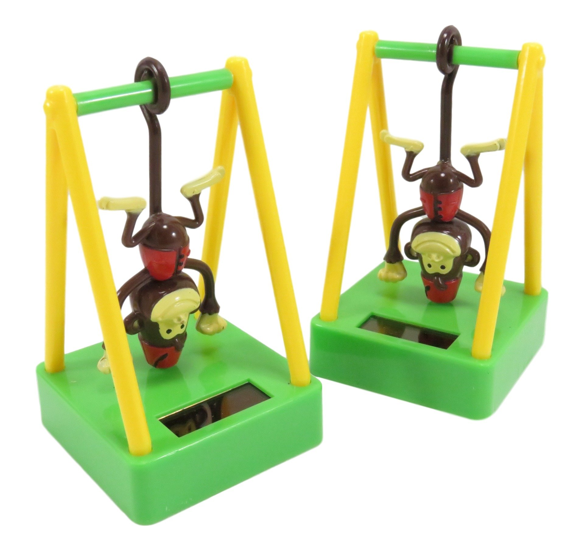 Cute Solar Powered Dancing Monkey Desk and Dashboard Décor 4 x 2.5 Brown Yellow Green (Set of 2)