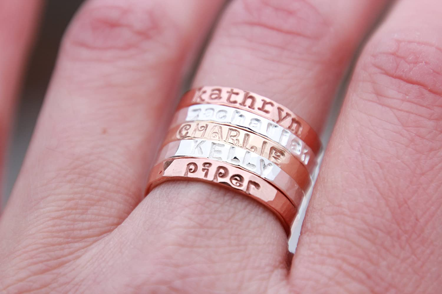 Amazon.com: Hand Stamped Stacking Rings - Personalized Gold, fine ...