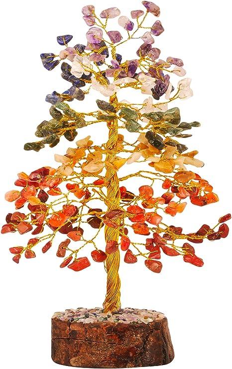 Crocon Seven Chakra Gemstone Engraved Reiki Symbol Set with Tree of Life Wooden Box for Energy Generator Healing Crystal Cleansing Spiritual Chakra Stone Balancing Money Home Decor