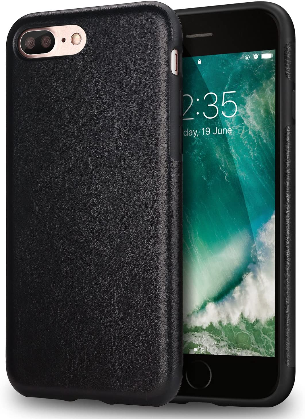TENDLIN Funda iPhone 7 Plus Funda iPhone 8 Plus Cuero Silicona TPU Híbrido Suave Carcasa para iPhone 7 Plus y iPhone 8 Plus (Negro)