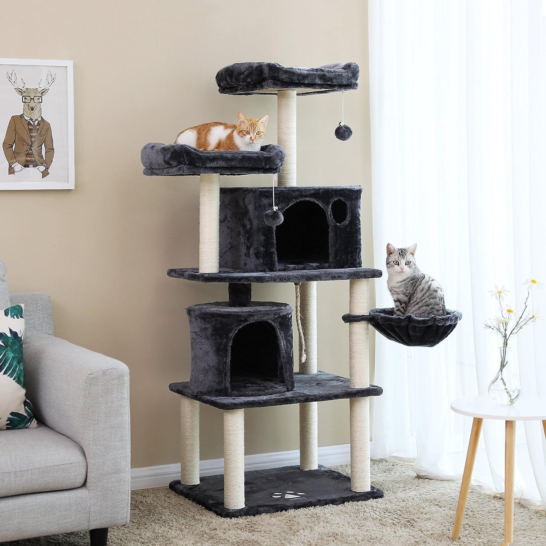 FEANDREA Árbol para Gatos, Rascador para Gatos con Postes Recubiertos de Sisal, Varias Plataformas, Centro de Actividades para Gatos PCT90G: Amazon.es: ...
