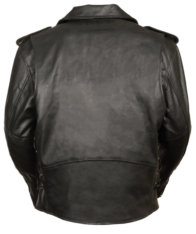 Black, Medium Event Biker Leather Mens Basic Motorcycle Jacket with Pockets