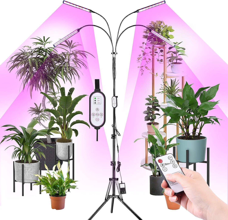 RUNACC Lámpara de Planta LED con Trípode - 192 LED Lámpara de Cultivo de Plantas Interior Ajustable 360° Full Spectrum 10 Brillos LED Lámpara de Crecimiento con Remoto y Temporizador para Jardinería